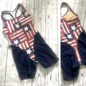 Vintage 80's American flag singlet aerobics onesie